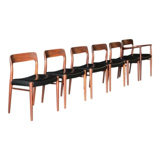 Set of 6 Danish Dining Chairs by Neils O. Møller For Sale