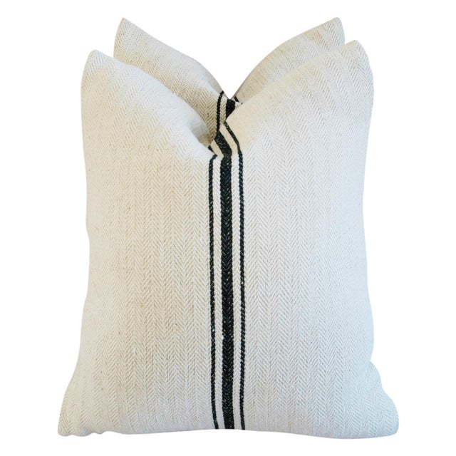 French Grain Sack Down & Feather Pillows - A Pair - Image 1 of 10