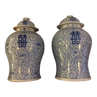 Chinese Blue and White Ginger Jars - a Pair For Sale