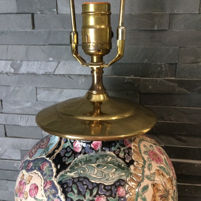 Vintage Ceramic Chinoiserie Floral Lamp For Sale - Image 4 of 9