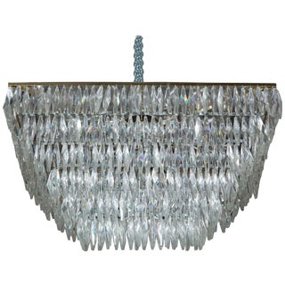 1960's Italian Murano Crystal Chandelier For Sale