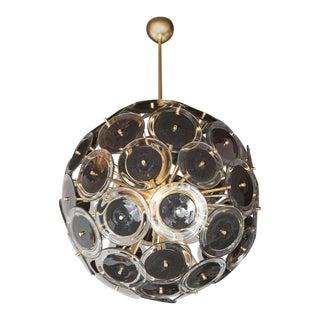 Sophisticated Modernist Vistosi Disc Sputnik Chandelier with Black & Clear Discs For Sale