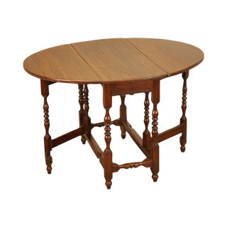 Antique 18th Century English Oak Drop Leaf Gate Table With Drawer For Sale