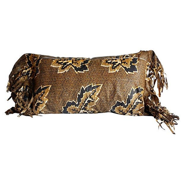 African African Wax Print Textile Pillow For Sale - Image 3 of 4