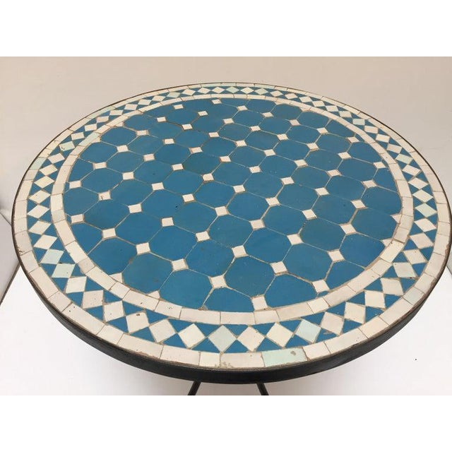 Mid 20th Century Moroccan Mosaic Blue Tile Bistro Table For Sale - Image 5 of 13