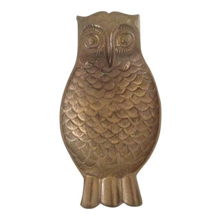 Vintage Brass Owl Catch All Tray For Sale