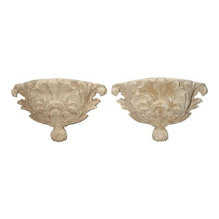 Pair of Antique French Whitewashed Wooden Brackets For Sale