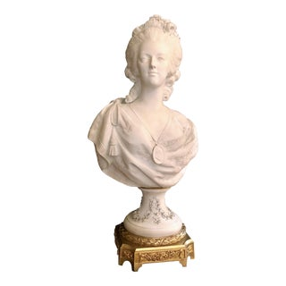 Antique French 19th Century Bisque Porcelain Bust of Marie Antoinette With Bronze Base. For Sale