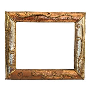 Brutalist Styled, Brazed Brass and Copper Picture Frame, W/ Stand, Vintage For Sale