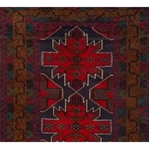 3' 10 x 6' 9 Navy, purple, brown, red and emerald green traditional handknotted Baluchi rug. Made in the late 20th century.