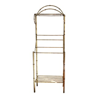 Mid-Century Faux Bamboo Metal Painted Gold & Bronze Glass Shelving Towel Rack For Sale