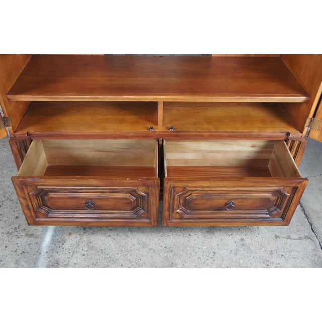 Late 20th Century Brutalist Ralph Lauren Old World English Style Oak Sheltering Sky Armoire For Sale - Image 5 of 13