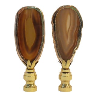 Tiger Eye Agate Finials in 14kt Gold by C. Damien Fox , a Pair. For Sale