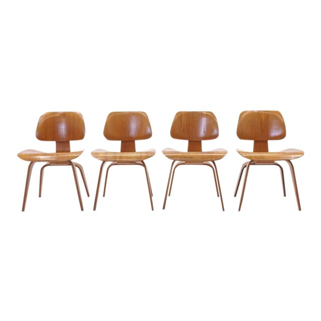 Set of Four Vintage Eames DCWS Add Our Red Eames Dining Chairs to Make Six For Sale