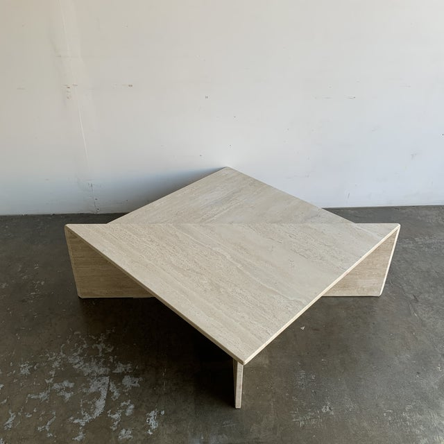 Travertine Triangular Coffee Tables-A Pair For Sale - Image 10 of 13