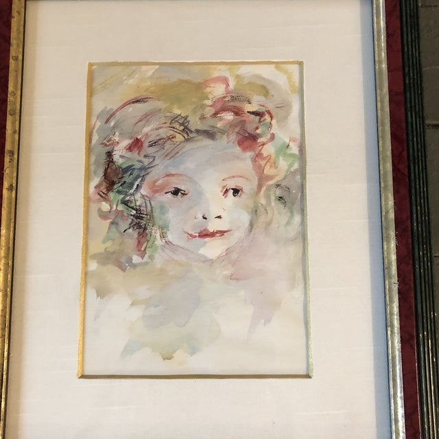 Expressionism Vintage Original Watercolor Portrait Young Girl For Sale - Image 3 of 6
