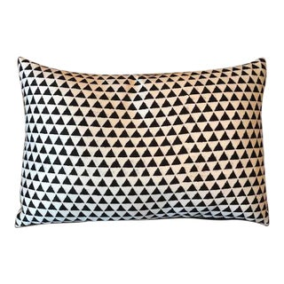 Modern Black & White Triangle Print Decorative Pillow For Sale