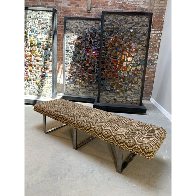 Modern Kravet Missoni Flame-Stitch and Chrome Bench For Sale - Image 11 of 11