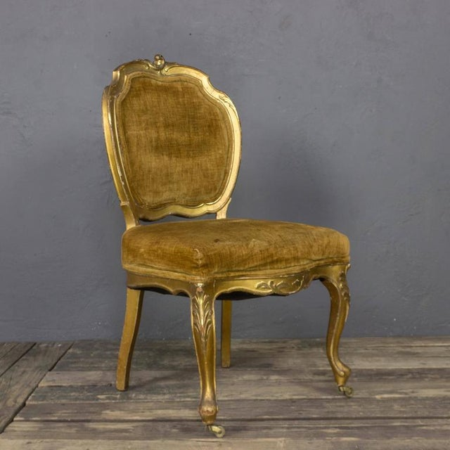 Textile Pair of Rococo Revival Giltwood Side Chairs For Sale - Image 7 of 11