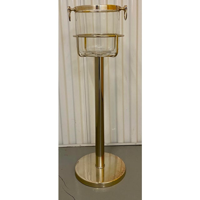 Mid Century Vintage Silver Plate & Glass Wine Bucket on Stand For Sale - Image 11 of 11