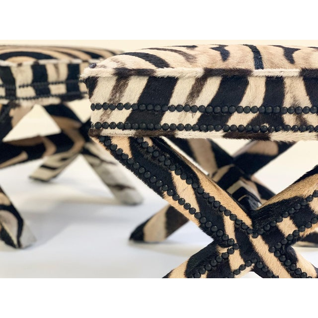 Animal Skin Billy Baldwin Style X Benches Restored in Zebra Hide - a Pair For Sale - Image 7 of 10