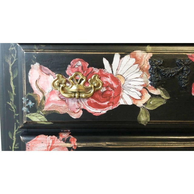 Black Tall Midnight Floral Storage Dresser Chest With Pinstriped Siding and Faux Marbleized Top For Sale - Image 8 of 12