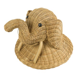 1970s Boho Chic Wicker Elephant Faux Taxidermy Wall Hanging For Sale