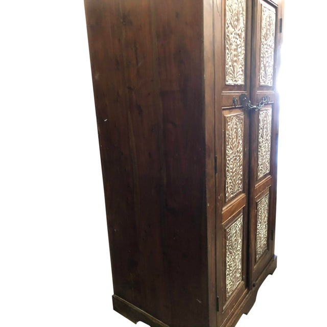 Antique Rustic Handcrafted Floral Carving Cabinet For Sale - Image 4 of 8