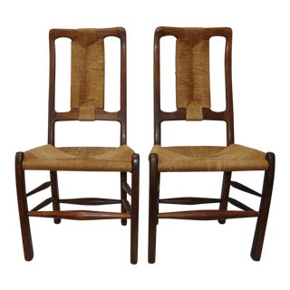 Richard Patterson Walnut & Wicker Side Chairs a Pair For Sale
