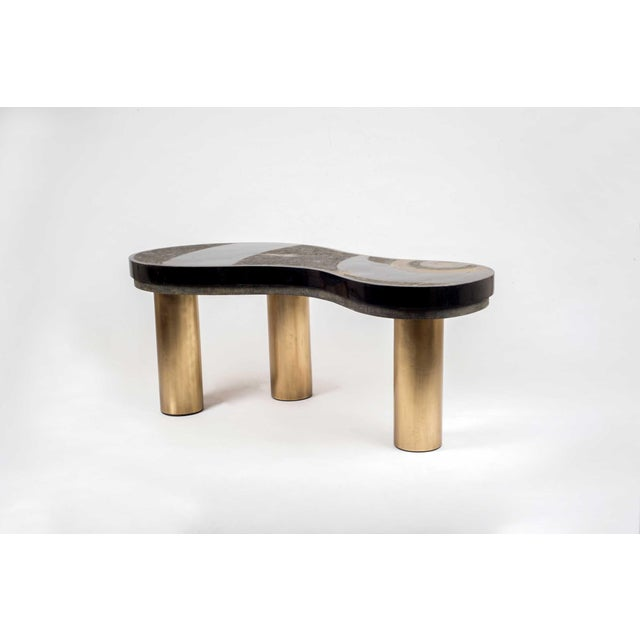 Art Deco Constellation Coffee Table in Black Shagreen, Shell and Brass by Kifu Paris For Sale - Image 3 of 6