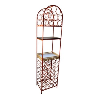 Orange Mid-Century 39 Bottle Cast Iron Wine Rack For Sale