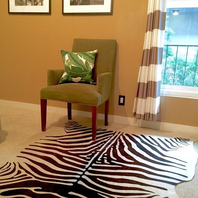 Zebra Stenciled Black Ivory Hide Rug - 6'10 X 5'7 - Image 7 of 9