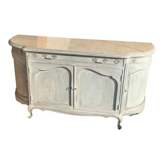 1940s Antique Danby Furniture Manufacturer Wood and Marble Top Buffet For Sale