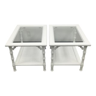 White Faux Bamboo Side Tables - A Pair For Sale