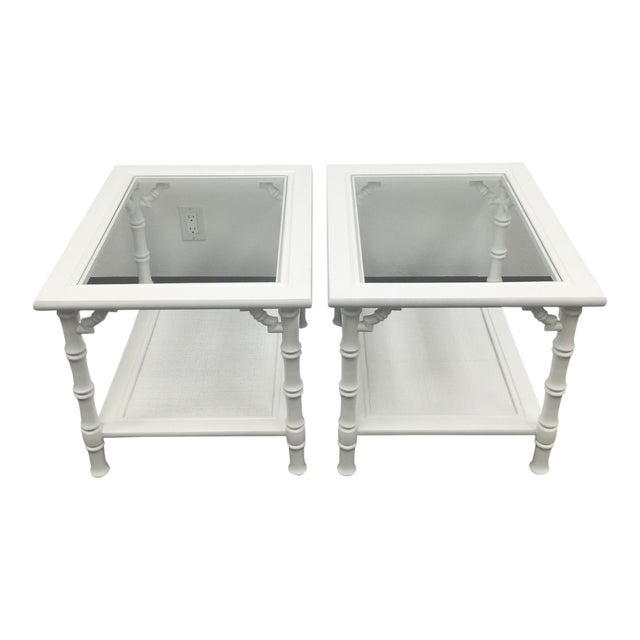 White Faux Bamboo Side Tables - A Pair - Image 1 of 7