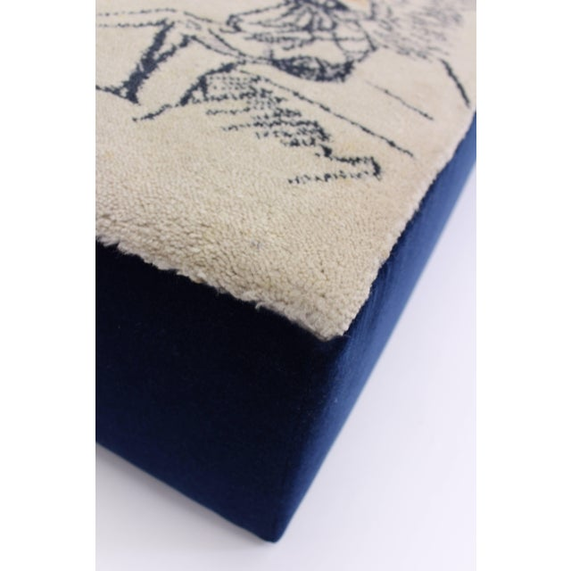 """Mid-Century Modern Oversized Ottoman Upholstered in Salvador Dali """"Le Grand Pavon"""" Rug For Sale - Image 3 of 7"""