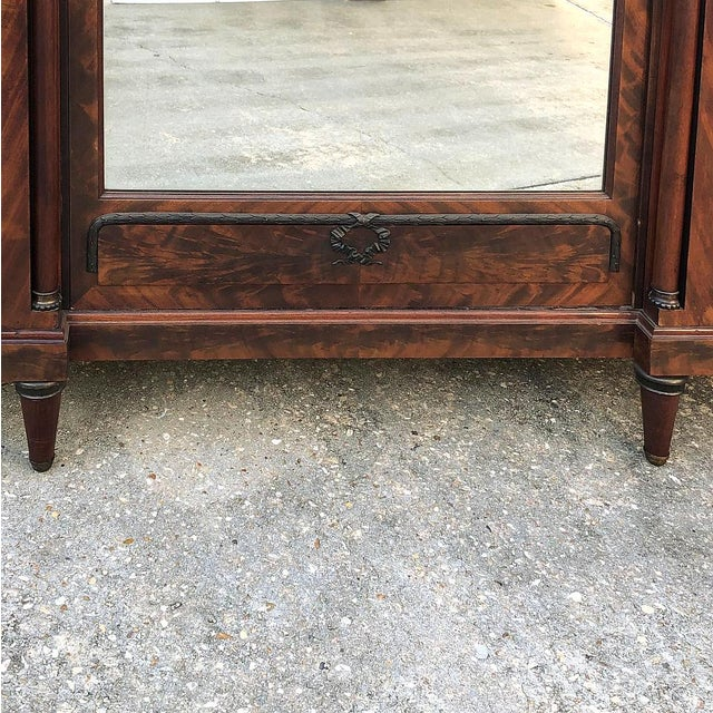 Metal Antique French Neoclassical Mahogany Armoire For Sale - Image 7 of 13
