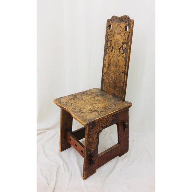 Stunning One of a kind, Antique Folk Art Chair, made by Hand from solid wood. Absolutely fantastic original detail. Chair...