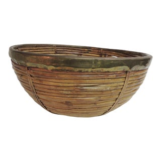 Vintage Large Round Footed Bamboo Fruit Bowl