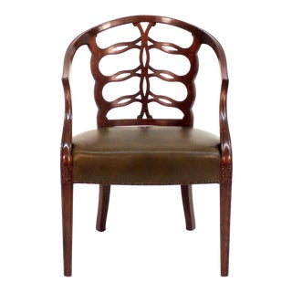 Carved Open Back Chair For Sale