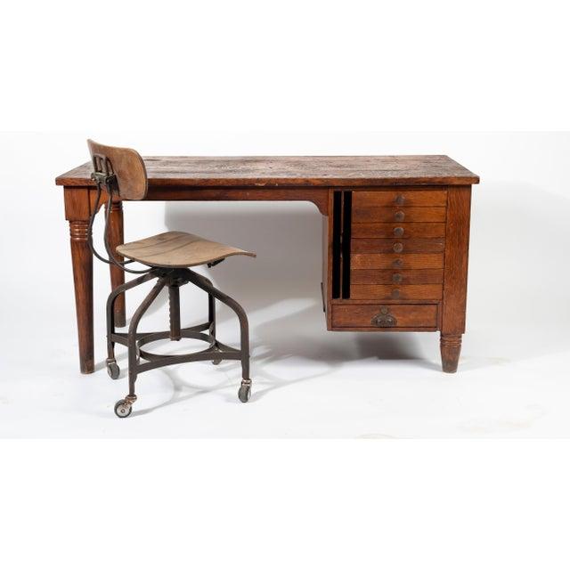 Early American 1920s Early American Quartersawn Oak Draftsman's Desk For Sale - Image 3 of 5