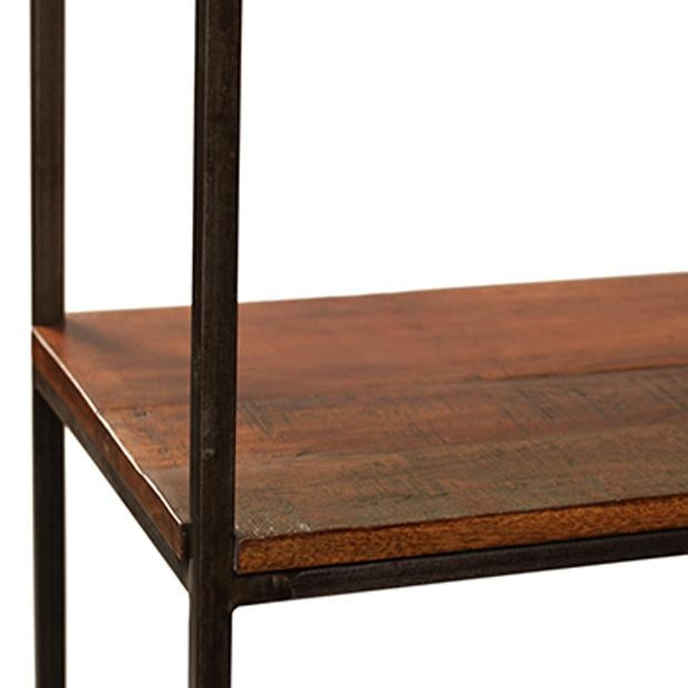 Large reclaimed wood iron shelf chairish for Buy reclaimed wood los angeles