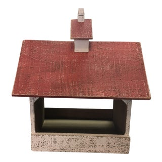 1970s Vintage Red and White Rustic Wood Bird House For Sale