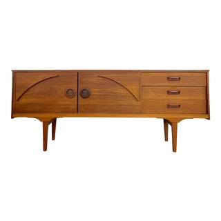 1960s Mid Century Teak Credenza With Sculptural Designs For Sale