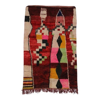 Boho Chic Berber Moroccan Rug with Contemporary Abstract Design
