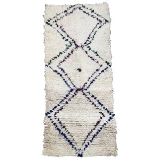 Mid-Century Moroccan Beni Ouarain Tribal Rug - 2′8″ × 6′3″ For Sale