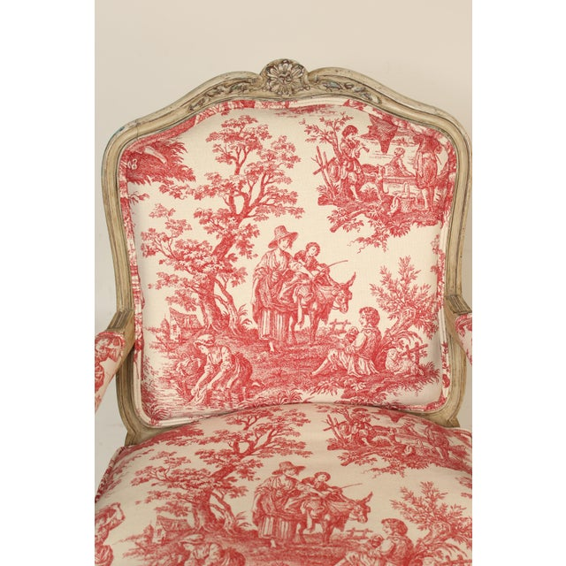 1930s Louis XV Provincial Painted Armchair For Sale In Los Angeles - Image 6 of 13