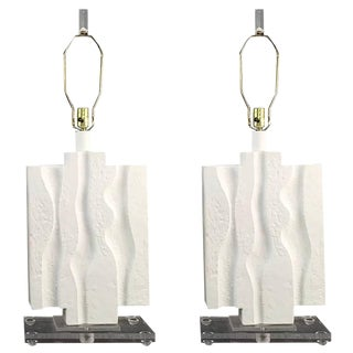 Pair of Brutalist Lamps on Lucite For Sale