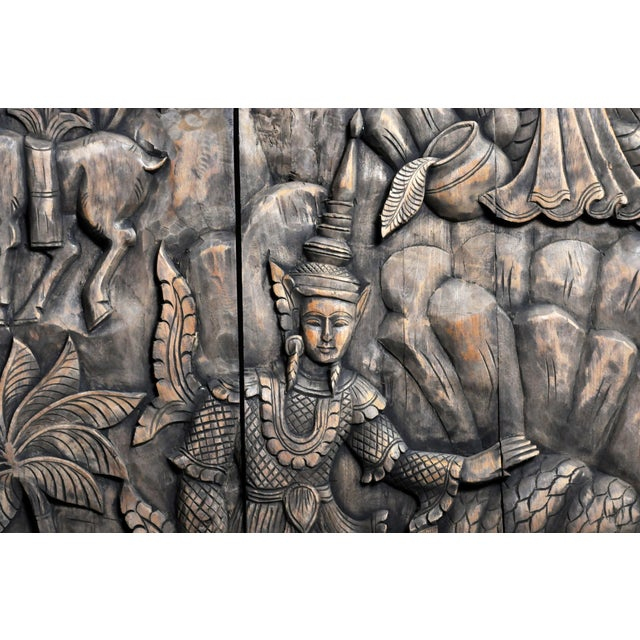 Monumental Southeast Asian Teakwood Figurative Panel of Buddha For Sale - Image 11 of 13