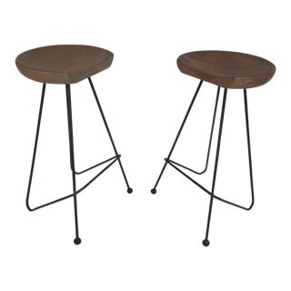 Pair of Midcentury Wrought Iron Bar Stools For Sale